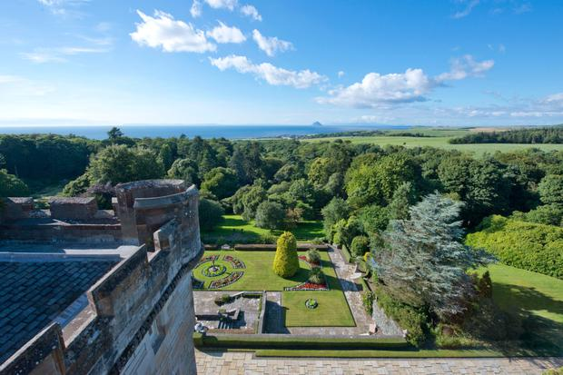 Rooms at the luxurious five-star Glenapp Castle, Ayrshire, offer spectacular views across the glen and out to sea