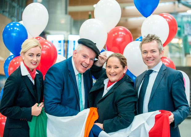 Sinead Kinsella, Swissport; Niall MacCarthy, Managing Director, Cork Airport; Louise Griffin, Swissport and Daragh Hanratty, Head of Aviation Marketing at Cork Airport. Pic: Brian Lougheed
