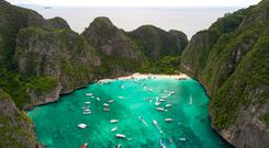 Visitors to Maya Bay in Thailand