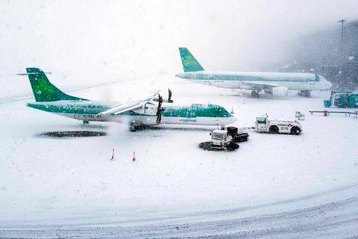 Snow at Cork Airport on Tuesday. Photo: Twitter/Cork Airport