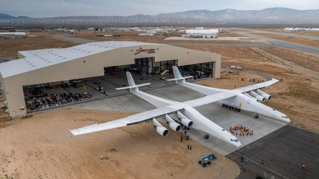 Stratolaunch at its hangaer in California. Photo: Stratolaunch.com