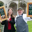 Georgina Campbell with Sean Kelly of Kelly's Butchers of Newport Co. Mayo. Photo: Paul Sherwood