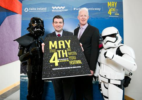 Minister of State for Tourism and Sport, Brendan Griffin and Fáilte Ireland CEO, Paul Kelly launching the new May the Fourth Be With You Festival. Photo Karl Hussey / Fennell