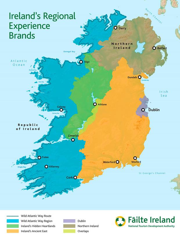 Ireland's regional experience tourism brands. Source: Fáílte Ireland