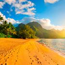 Tropical beach with palm trees at sunset in Hanalei, Kauai, Hawaii. Photo: Getty