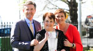 Daniel and Majella O'Donnell with Mary Mckenna (centre) from Gallows View B&B, Bunratty, Co Clare - Overall Winner of the B&B Ireland B&B Award 2018. Photo: Gareth Chaney Collins