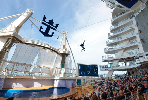 Acrobatics at the AquaTheatre on Symphony of the Seas. Photo: Pól Ó Conghaile