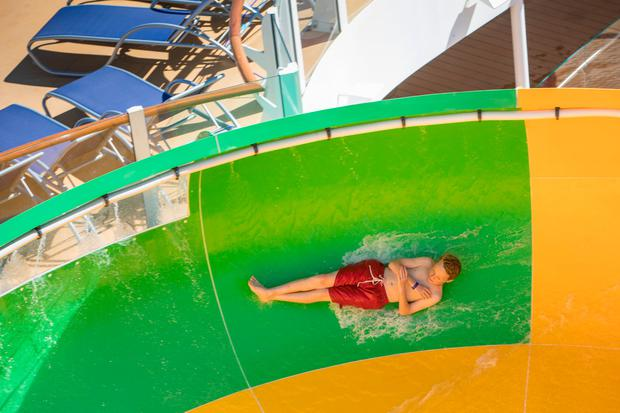 The Typhoon water slide on 'Perfect Storm' at the pool deck on Symphony of the Seas