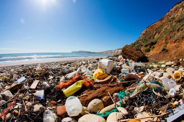 Rubbish washed up on beach. Photo: Getty