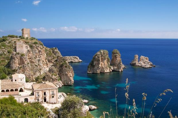 Scopello, north-western Sicily: Stacks along the shoreline