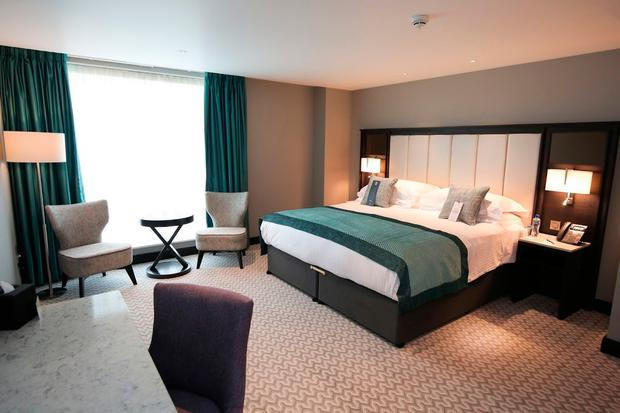 A bedroom at the new Grand Central Hotel in Belfast. Photo by Kelvin Boyes / Press Eye.