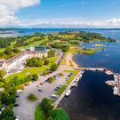 An aerial view of the Hodson Bay Hotel