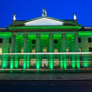 The GPO on O'Connell Street illuminated for St. Patrick's Day. Stock picture