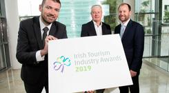 Pictured at the launch of the Irish Tourism Industry Confederation Awards were Minister Brendan Griffin with on left, Conor Hennigan, Hennigan Hospitality Services Ltd and Eoghan O'Mara-Walsh, Chief Executive, ITIC. Photo: Don MacMonagle