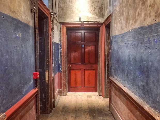 A hallway at No. 14 Henrietta Street, with its 'Raddle red' and 'Reckitt's Blue' colouring. Photo: Pól Ó Conghaile