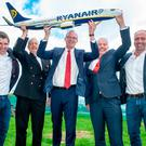 Neal McMahon, Ryanir's Dep. Dir. of Flight Operations; Capt Andy O'Shea, Ryanair's head of Crew Training; Tánaiste, Minister Simon Coventy TD; Niall MacCarthy, Managing Director, Cork Airport and Kenny Jacobs, Chief Marketing Officer, Ryanair. vPic: Brian Lougheed