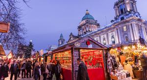 Belfast Christmas market in the grounds of City Hall