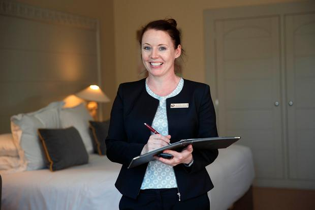 Happy at work: Catherine Kinsella, accommodation manager at Monart. Photo: Fran Veale