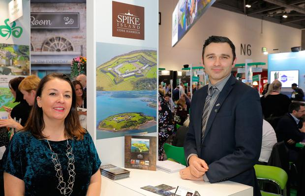 Judith Cassidy, Tourism Ireland; and John Crotty, Spike Island, at World Travel Market in London. Pic – Martin Griffin. Lemonade Factory