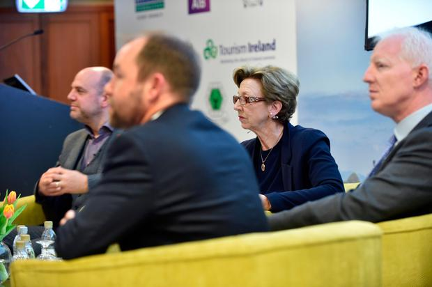 Mark Henry, Tourism Irleand, Eoghan O'Mara-Walsh, Irish Tourism Industry, Paul Kelly, Fáilte Ireland and moderator Olivia O'Leary at the 'Let's Talk Tourism' conference in Killarney on Friday. Photo: Don MacMonagle