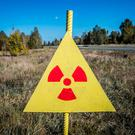 Ionizing Radiation sign next to the Red Forest at Chernobyl Nuclear Power Plant, Ukraine. Photo: Deposit