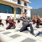 Hector with the kung fun nuns in Nepal