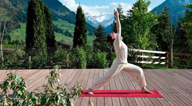 Daily yoga sessions in Six Senses Spa at the Alpina Gstaad