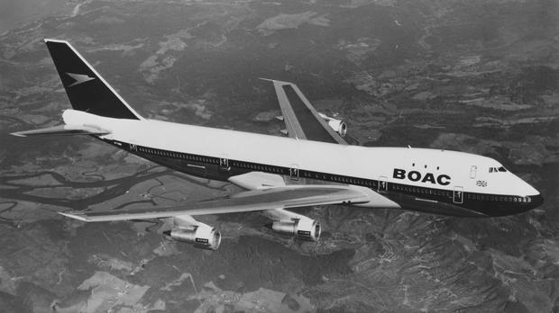 A Boeing 747 long-range wide-body four engined commercial jet airliner, pictured in 1971 (British Airways)