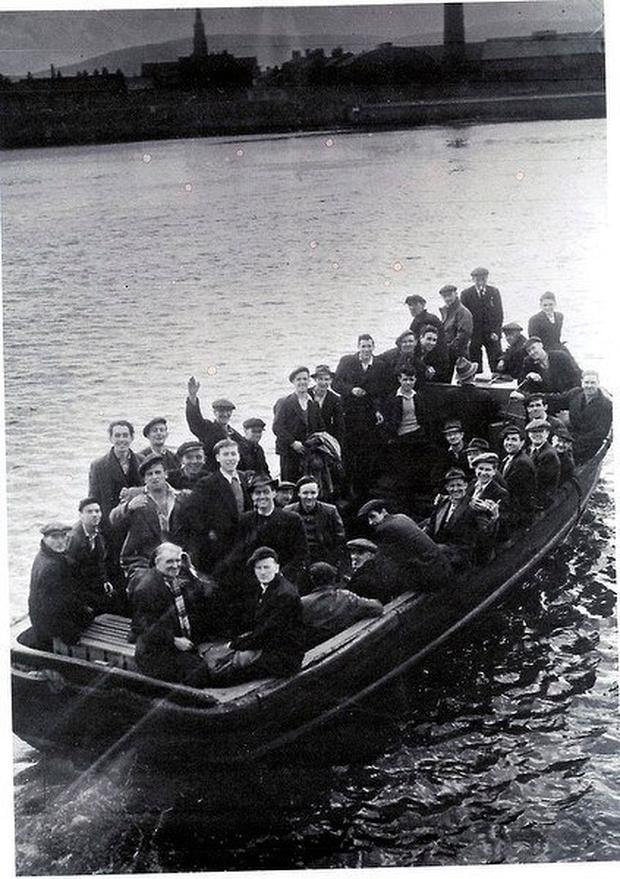 Dock workers on the original Liffey Ferry