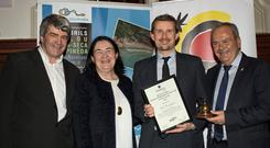Pól Ó Conghaile, Travel Journalist of the Year 2018 (overall), with Teresa Gancedo, Director of the Spanish Tourism Office and Eoghan Corry, editor of Travel Extra. Picture: Arthur Carron