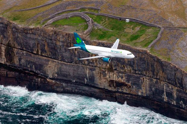 An Aer Lingus aircraft with new livery photographed over Ireland's west coast. Pic: Frank Grealish