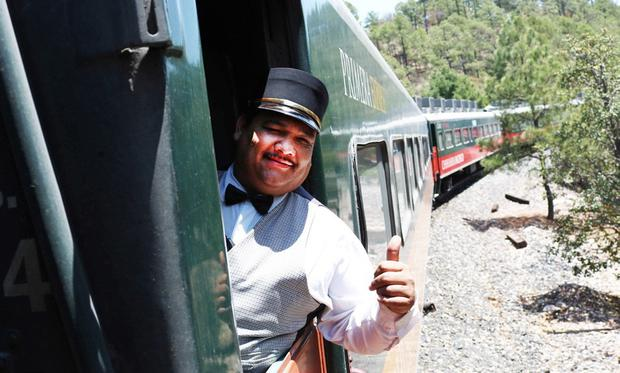 A conductor on the El Chepe train