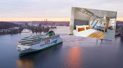 Irish Ferries' W.B Yeats leaves its German shipyard (inset, one of its premium suites)