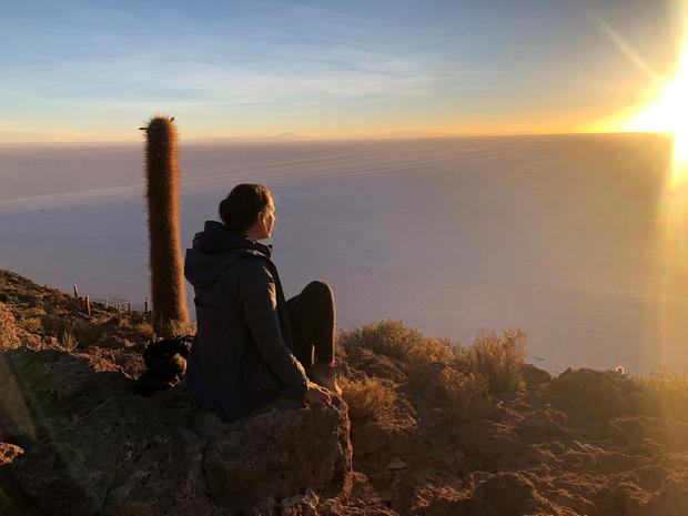 Lauren Taylor at the Uyuni Salt Flats in Bolivia at sunrise. PA Photo/Lauren Taylor
