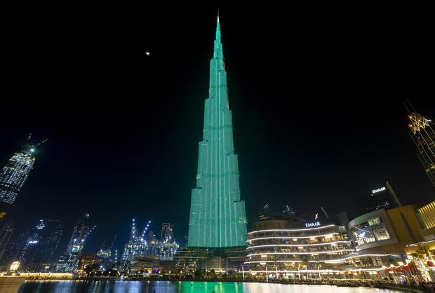 The Burj Khalifa in Dubai – the world's tallest building – illuminated in green as part of Tourism Ireland's Global Greening