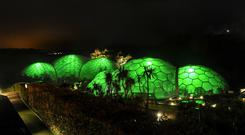 The Eden Project in Cornwall, illuminated in green as part of Tourism Ireland's Global Greening initiative... Photo: Alistair Heap/PA Wire