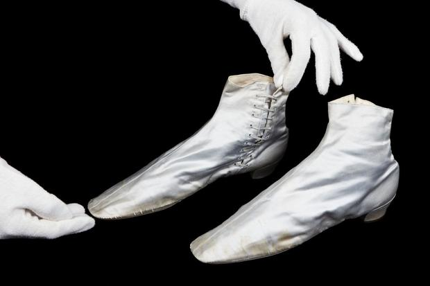 A pair of shoes by Gundry & Son's, 1840s, worn by Queen Victoria. PA Photo/Historic Royal Palaces.