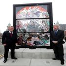 Nial Gibbons of Tourism Ireland and John McGrillen of Tourism NI at the new Game of Thrones stained glass installation in Belfast. Photo by William Cherry/Presseye