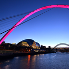 Gateshead Millennium Bridge, with Sage Gateshead in the background. Newcastle.