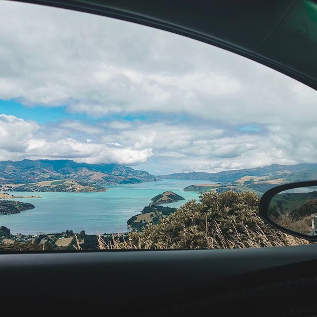A Banks Peninsula view from the car...