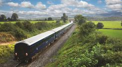 The beautiful midnight-blue Belmond Grand Hibernian is the longest train in Ireland...
