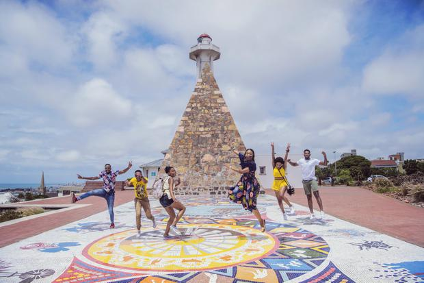 Jumping at the Donkin pyramid, Port Elizabeth. Photo: SouthAfrica.net