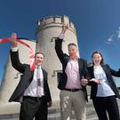 Leonard Cleary, Director of Rural Development, Clare County Council; Bobby Kerr, Chair of Cliffs of Moher Ltd.; and Geraldine Enright, Director of the Cliffs of Moher Visitor Experience at the restored O'Brien's Tower. Photo: Eamon Ward