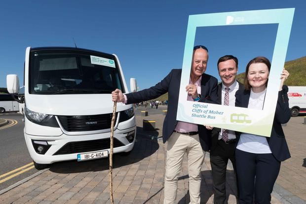 Bobby Kerr, Chairman of the Board, Cliffs of Moher Ltd, Leonard Cleary, Director of Rural Development, Clare County Council and Geraldine Enright, Marketing Manager, Cliffs of Moher centre, at the launch of the new Cliffs of Moher shuttle bus service. Photo: Eamon Ward
