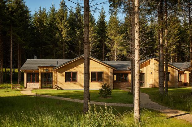 One of the lodges at Center Parcs Longford Forest