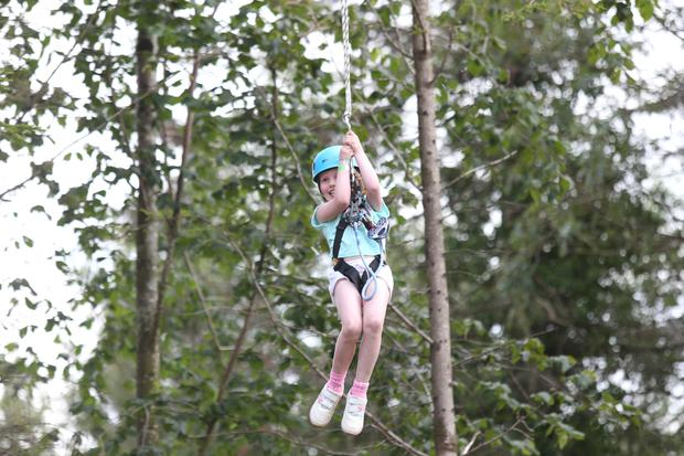 Stofra Ní Ghallchobhair (7) takes part in the activities at Center Parcs Longford Forest! Photo: Leon Farrell/Photocall Ireland