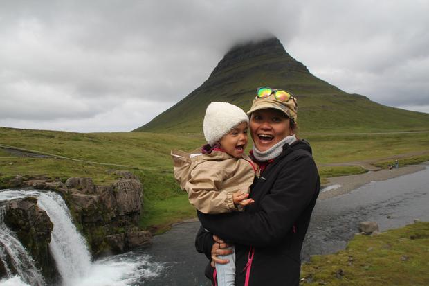 Undated Handout Photo Nellie Huang and her daughter in Iceland. PA Photo/Nellie Huang.