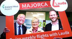 Pictured at the launch of a new Lauda service to Majorca from Ireland West Airport were from left to right, Cormac Meehan of Meehan Travel, Frances Grogan of Grogan Travel and Andreas Gruber, CEO, Lauda