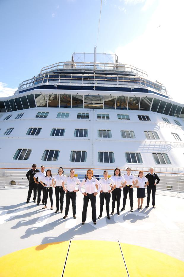 The all-female bridge and officer team that will head the Celebrity Edge. Photo: Celebrity Cruises.