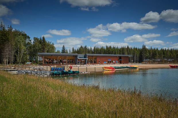 The lake and Pancake House at Center Parcs Longford Forest